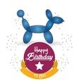 cute balloon dog happy birthday confetti ribbon vector image