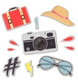 Fashion patch badges with camera hat bag vector image