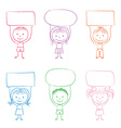 Kids with banners vector image