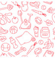 red seamless pattern with fitness doodles vector image