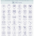 SEO outline icon set Elegant thin line vector image