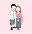 Wedding cartoon couple in Thai tradition costume vector image