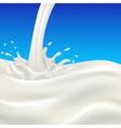 Milk flow and splash on blue background vector image