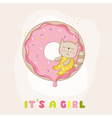 Baby Shower or Arrival Card - Baby Girl Cat vector image vector image