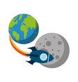 rocket space with planet earth vector image