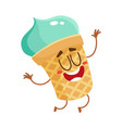 funny smiling pistachio ice cream character in vector image