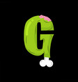 Letter g zombie font monster alphabet bones and vector image