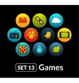 Flat icons set 13 - game collection vector image vector image