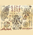 demon collection with mystic and occult symbols vector image