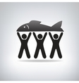Fisherman label vector image