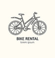 modern linear style bicycle rental logotype vector image