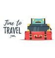 pile of three vintage suitcases vector image