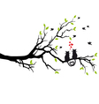 cats in love on tree vector image vector image