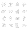 Spring icons set outline style vector image