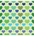 seamless pattern with green and blue hearts vector image