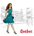 st jean street in quebec vector image