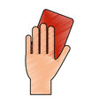 color pencil cartoon hand with red card vector image