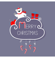 White bear giftbox snowflake ball Merry Christmas vector image