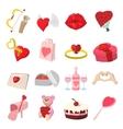 Love cartoon icons set vector image