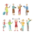 Cool And Active Old People vector image