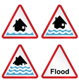 Flood warning sign collection vector image