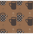 Seamless pattern with dotted coffee cups vector image