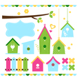 Spring colorful bird houses isolated on white vector image