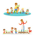 biology lesson in kindergarten children looking vector image