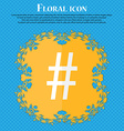 hash tag icon Floral flat design on a blue vector image