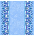 blue ornamental background with flower ribbon vector image
