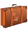 Classic brown travel bag on white background vector image