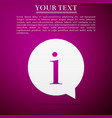 information icon isolated on purple background vector image