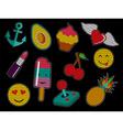Set of cute sequin pop art retro patch icons vector image