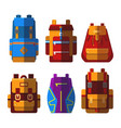 set of isolated sport or school bag or rucksack vector image