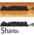 Shantou skyline in orange background vector image