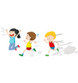 Two boys running in a race vector image