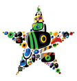 Colorful entertainment and music icons in star vector image vector image