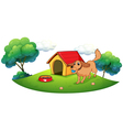 A dog playing with a blue ball near a doghouse vector image vector image