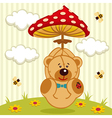 teddy bear with amanita vector image