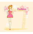 trendy girl in a short dress on a floral vector image vector image