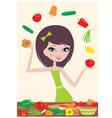 pretty girl prepares salad vector image