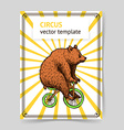 Sketch bear on a bike in vintage style vector image