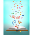 butterfly flying around the book vector image