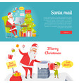 set of merry christmas and santa mail pictures vector image vector image