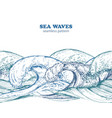 seamless border pattern with hand drawn sea waves vector image