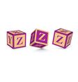 letter Z wooden alphabet blocks vector image
