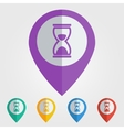 flat pin with hourglass icon vector image
