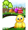 Little fluffy chicken and Easter eggs vector image