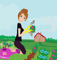 beautiful woman plant flowers in the garden vector image