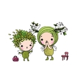 Two little cartoon fairies vector image